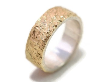 Mens Wedding Band Meteorite Gold and Sterling Silver Mens Rustic Gold Wedding Band Meteorite Wedding Ring Meteorite Gold and Silver Polished
