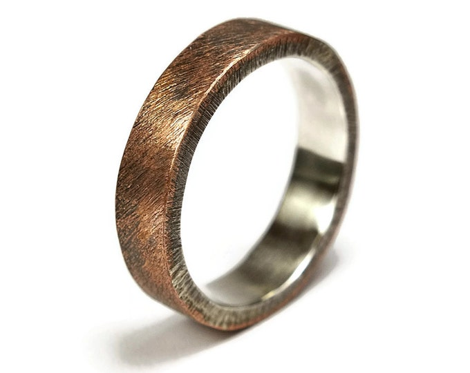 Men's Raw Brushed Antique Copper Wedding Band Ring. Classic Copper Wedding Band. Antique Style. Flat Shape 6mm, Unique Gift for Him