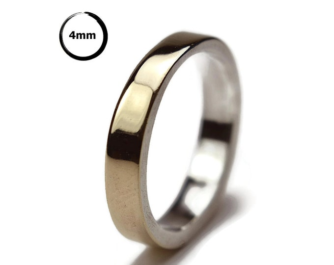 Modern 9k Gold and Silver Wedding Band Ring.
