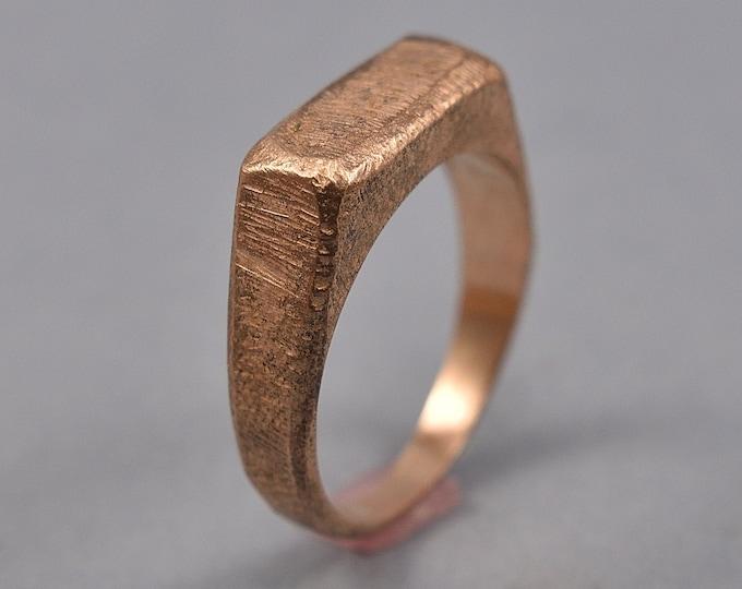 Antique Red Bronze Signet Ring. Mens Red Bronze Signet Ring. Custom Signet Ring for Men