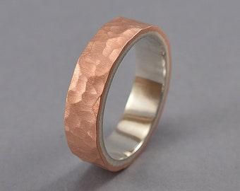 Men's Hammered Copper Wedding Band, Hammered Copper Matte Wedding Ring for Man, Men's Wedding Ring Matte 6mm