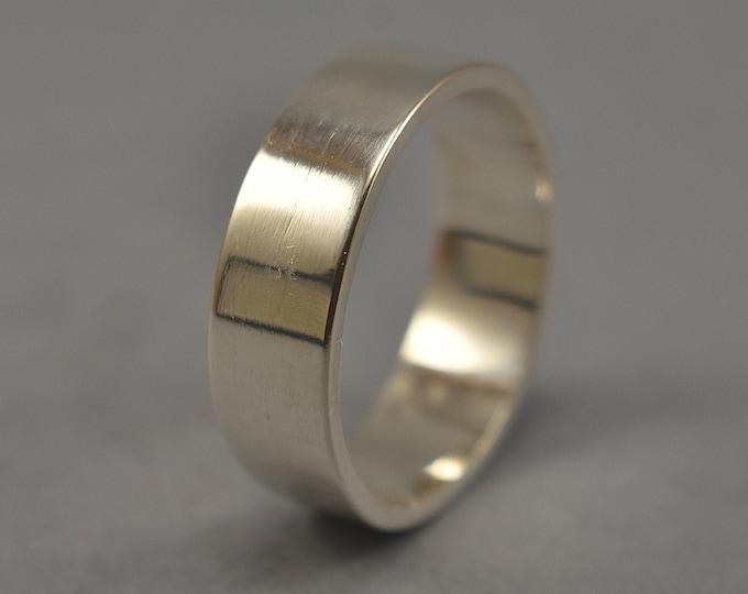 Men's Silver Flat Wedding Band. Modern Silver Wedding Band Ring. Custom Silver Thumb Ring, Gift for Him. Polished Ring 6mm