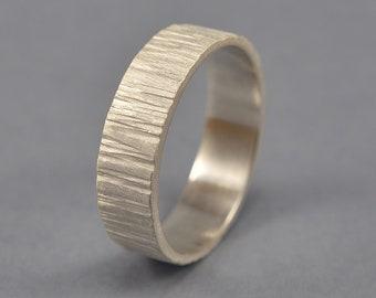 Men's Rustic Tree Bark Silver Ring. Finish Matte