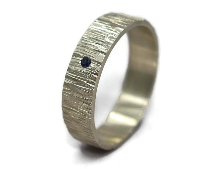 Blue Sapphire Wedding Band Ring Rustic. Natural Sapphire Sterling Silver Wedding Band Ring Tree Bark Matte