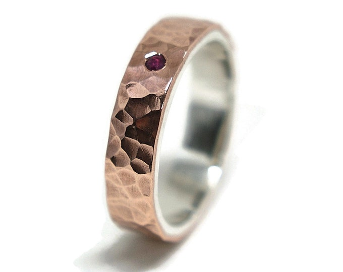 Ruby Hammered Silver Copper Wedding Band Ring Rustic. Birthstone July Ring Anniversary