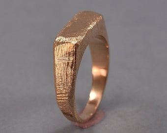 Men's Ancient Signet Ring for Men. Red Bronze Signet Ring. Custom Bronze Signet Ring. Polished Finish