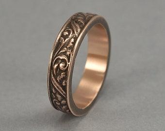 Antique Floral Bronze Wedding Band. Vintage Red Bronze Art Nouveau Ring. Art Deco Floral Red Bronze Ring. Antique Finish