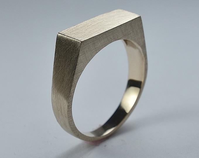 Men's Brass Signet Ring. Rectangle Brass Signet Ring. Custom Brass Signet Ring for Men. Matte Finish