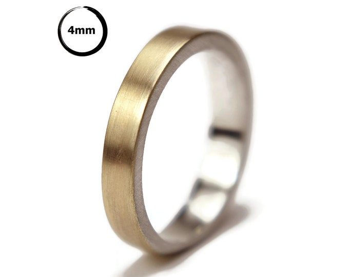 Gold and Silver Wedding Band Ring for Her.