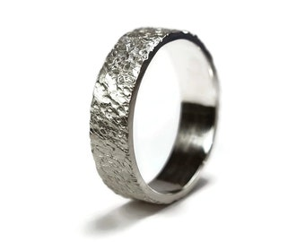 Men's Silver Meteorite Wedding Ring. Rustic Silver Wedding Band Ring for Men. Engraving Silver Ring. Gift For Him. Matte Ring 6mm