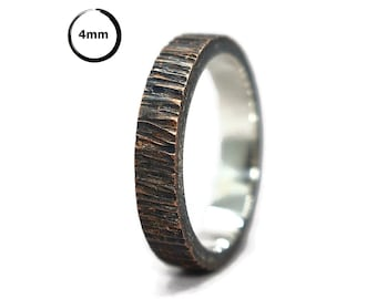 Mens Antique Copper and Silver Wedding Band Ring. Antique Tree Bark Wedding Band Ring. Rustic Copper and Silver Wedding Band Ring 4mm