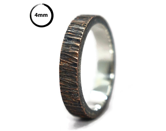 Mens Antique Copper and Silver Wedding Band Ring. Antique Tree Bark Wedding Band Ring. Rustic Copper&Silver Wedding Band. Oxidized Ring 4mm