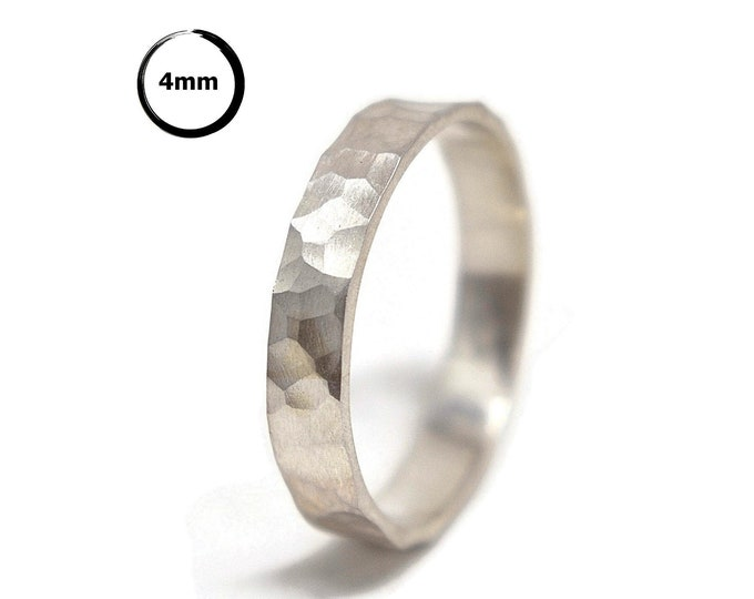 Sterling Silver Wedding Band Ring Women. Textured Stone Style. Matte Finished. Hammered Shape 4mm