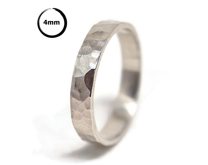 Sterling Silver Wedding Band Ring Women. Polished Finish Textured Stone Style. Hammered Shape 4mm