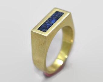 Mens Lapis Lazuli and Brass Geometric Ring, Modern Lapis Lazuli and Brass Ring Men, Lapis Lazuli Inlay Brass Ring Polished Finish