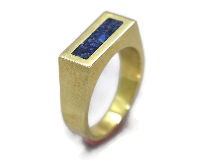 Men's Lapis Lazuli and Brass Geometric Ring, Modern Lapis Lazuli and Brass Ring Men, Lapis Lazuli Inlay Brass Ring Polished Finish