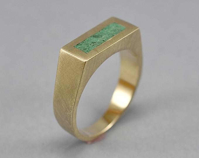 Vintage Malachite and Brass Ring Men, Men's Green Malachite and Brass Geometric Ring, Malachite Inlay Brass Ring Matte Finish