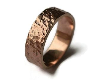 Rustic Red Bronze Wedding Ring for Men. Men's Red Bronze Meteorite Ring. Custom Engraving Bronze Ring. Ring 6mm Finish Matte. Gift For Him