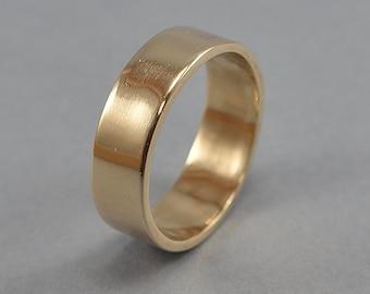 Brass Wedding Band, Men's Simple Brass Wedding Ring, Custom Engraving Brass Ring, Polished Ring 6mm