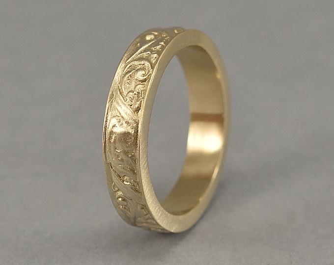 Vintage Floral Brass Wedding Band. Brass Art Nouveau Ring. Art Deco Floral Brass Ring. Matte Finish