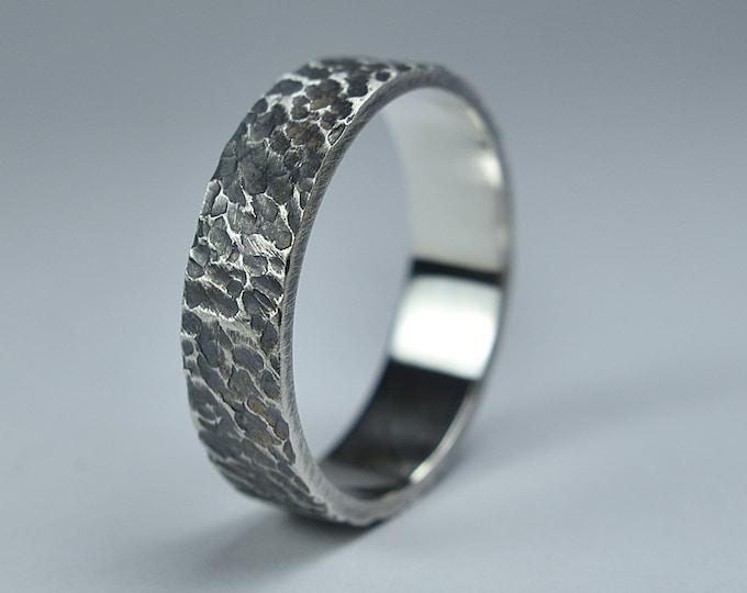 Antique Meteorite Silver Wedding Ring. Men's Antique Lava Wedding Engraved Ring. Antique Oxidized Meteorite Ring 6mm