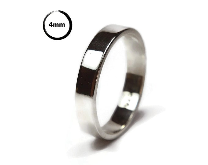 Unisex Sterling Silver Wedding Band Ring 4mm Modern Matte Sterling Silver Wedding Band Ring Minimalist Silver Wedding Band Ring
