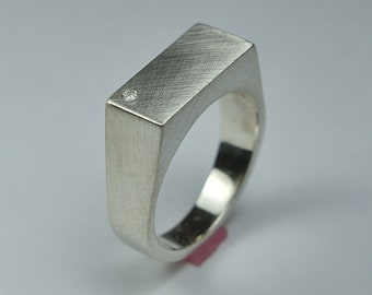 Men's Signet Ring With Cubic Zirconia. Custom Silver Ring. Silver Signet Ring. Custom Ring With Cubic Zirconia. Engraved Rectangle Ring