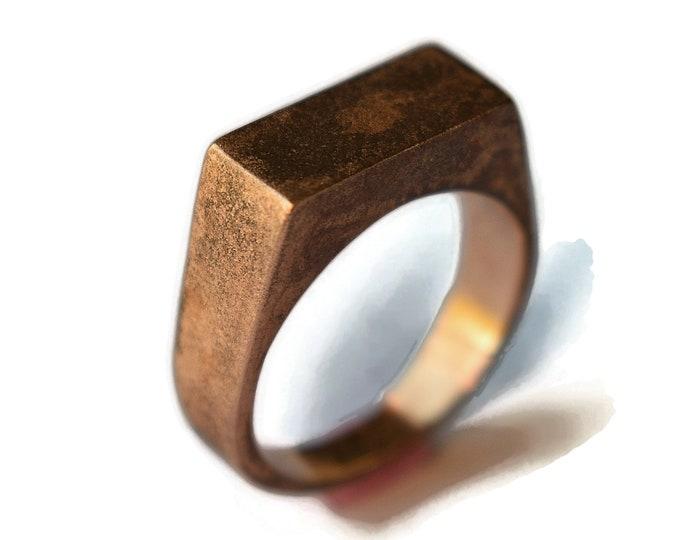 Antique Rose Bronze Signet Ring. Men's Bronze Signet Ring. Men's Red Bronze Ring. Antique Red Bronze Signet Ring for Men
