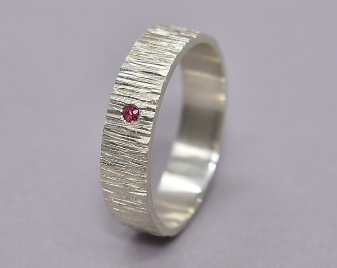 Men's Silver Wedding Band with Ruby. Men's Rustic Ruby Wedding Band. Rustic Tree Bark Wedding Band with Ruby. Matte Finish