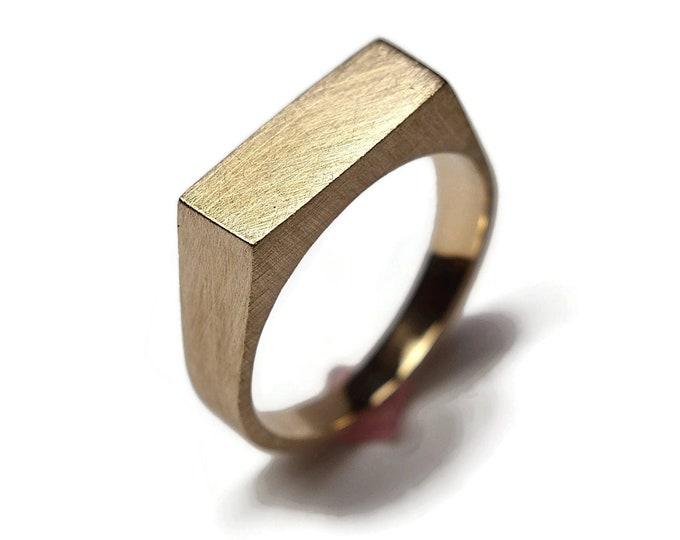 Men's Custom Signet Matte Brass Ring. Men's Signet Ring.  Signet Brass Ring for Men. Signet Ring Matte Brass. Custom Engraved Signet Ring