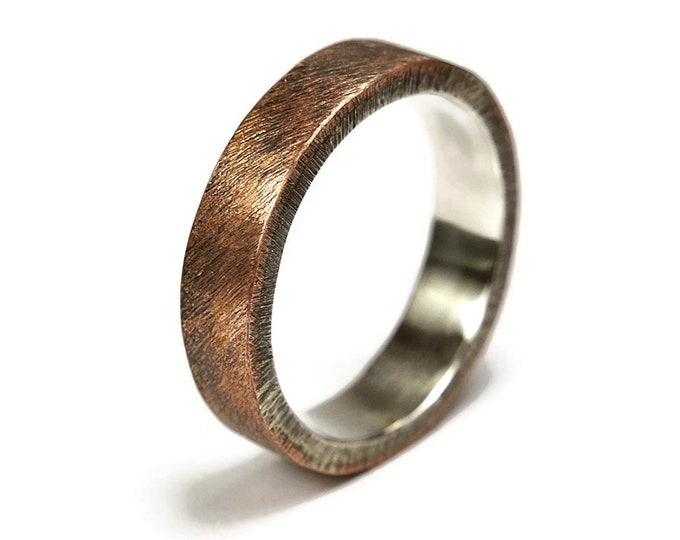 Mens Raw Brushed Antique Copper Wedding Band Ring. Classic Copper Wedding Band. Antique Style. Flat Shape 6mm, Unique Gift for Him