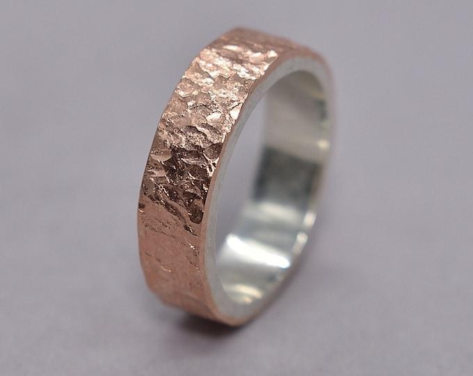 Men's Copper Lava Wedding Band | Men's Copper Rustic Wedding Ring | Custom Lava Ring | Polished Ring 6mm