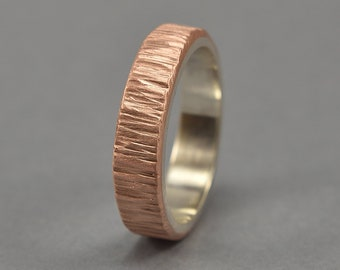 Men's Rustic Tree Bark Copper and silver Wedding Band Ring. Nature Copper Ring. Matte Ring 6mm
