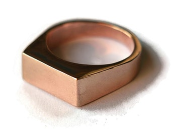 Mens Red Bronze Ring Mens Signet Rose Bronze Ring Custom Signet Ring Engraved Signet Ring Red Bronze Signet Polished Ring
