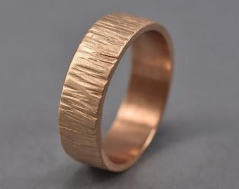 Men's Rustic Wedding Band. Tree Bark Red Bronze Ring. Nature Ring Matte Finish