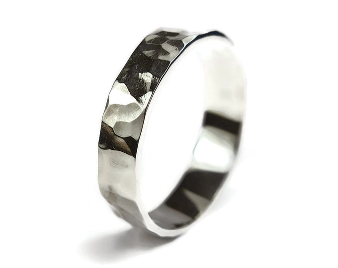 Mens Silver Wedding Band Ring Hammered Rustic. Polished Ring Silver Flat Hammered Shape 6mm