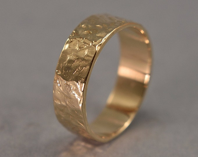 Hammered Lava Textured Wedding Ring. Rustic Wedding Band in Brass. Gilded Ring. Polished Finish