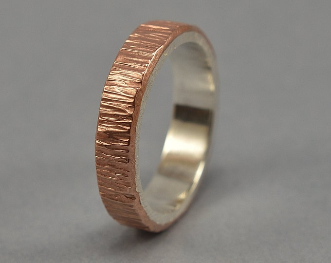 Men's Copper and Sterling Silver Wedding Band Ring Rustic Tree Bark. Nature Ring Silver. Hammered Copper Ring. Polished Ring 6mm