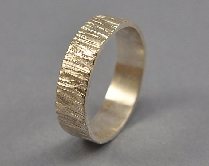 Silver Tree Bark Ring. Silver Tree Branch Ring Polished