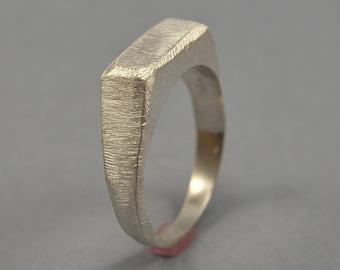 Men's Silver Signet Ring. Matte Silver Signet Ring. Men's Matte Silver Ring. Matte Silver Signet Ring for Men. Custom Silver Ring