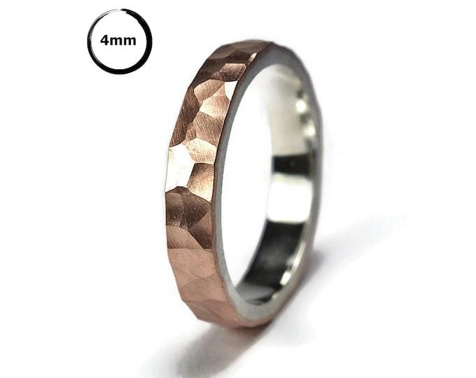 Hammered Matte Copper Ring. Hammered Copper Ring. Hammered Copper Matte Wedding Band Ring. Hammered Copper&Silver Ring. Matte Ring 4mm