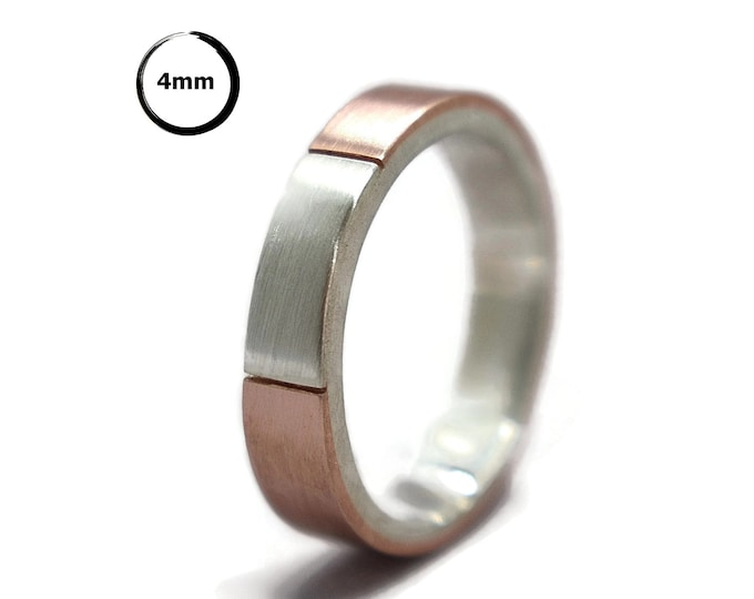 Mens Wedding Band Ring Matte Copper and Silver. Signet Mens Ring Copper and Silver. Initials Copper Wedding Band Ring / Gift for Him 4mm