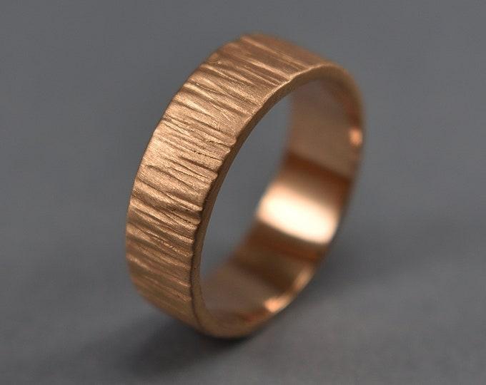 Men's Rustic Tree Bark Wedding Band, Bronze Tree Bark Ring, Rustic Tree Bark Ring, Wood Grain Ring, Nature Ring, Matte Ring 6mm