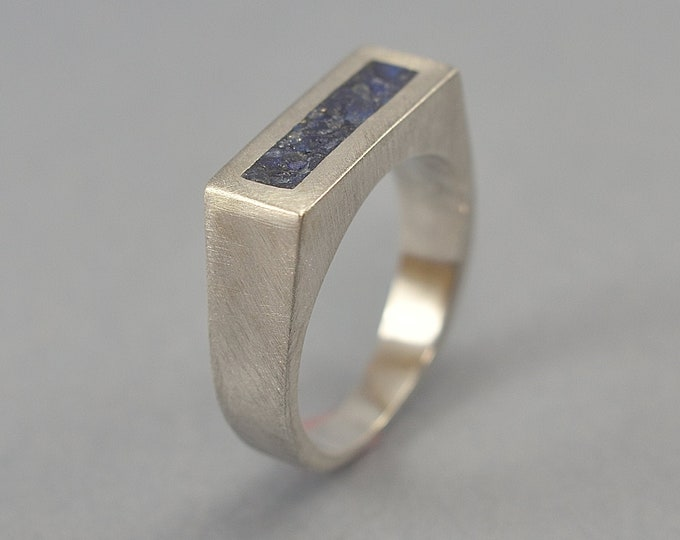 Geometric Lapis Lazuli Signet Ring. Men's Silver Signet Ring. Signet Ring with Inlay Lapis Lazuli. Ring Matte Finish