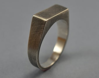 Antique Silver Signet Ring. Men's Silver Signet Ring. Men's Antique Silver Ring. Antique Silver Signet Ring for Men. Custom Rectangle Ring