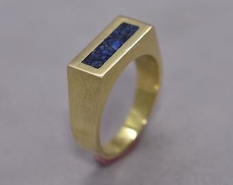 Men's Lapis Lazuli and Brass Geometric Ring, Modern Lapis Lazuli and Brass Ring Men, Lapis Lazuli Inlay Brass Ring Polished Finish