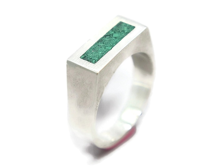Modern Malachite and Silver Ring Men, Mens Green Malachite and Sterling Silver Geometric Ring, Malachite Inlay Ring Polished finish