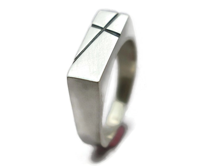 Mens Cross Silver Ring Custom Cross Ring Personalized Cross Ring Signet Silver Ring Cross Ring for Men Matte Silver Cross Ring Solid Ring
