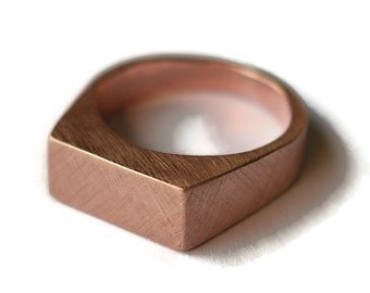 Mens Signet Rose Bronze Ring Mens Red Bronze Personalized Ring Red Custom Signet Ring Engraved Signet Ring Red Bronze Signet Matte Ring