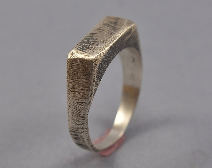 Antique Silver Signet Ring. Men's Silver Signet Ring. Men's Antique Silver Ring. Antique Rustic Silver Ring for Men. Custom Rectangle Ring